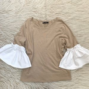 7th Ave NY& Co knit sweater blouse bell sleeve top
